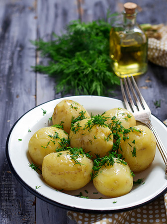 dill: Boiled potatoes with fresh dill Stock Photo