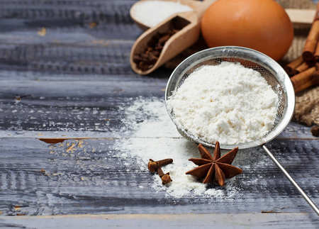 bolter: Ingredients for baking - egg, flour, sugar, anise, cinnamon
