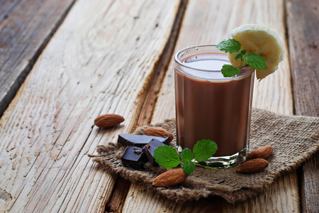 Chocolate smoothie with banana and mint. Selective focus