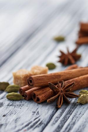 cardamom: Cinnamon sticks, star anise, cardamom. Selective focus