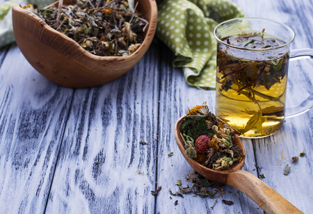dried herbs: Herbal tea and dried herbs. Selective focus