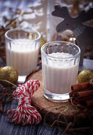 christmas drink: Glasses of Christmas drink eggnog. Selective focus, toned