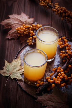 buckthorn: Healthy drink with sea buckthorn. Selective focus Stock Photo