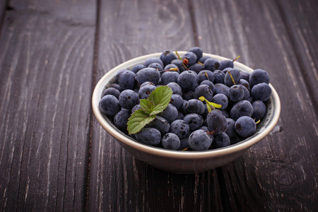 wildberry: Fresh blueberries in bowl. Selective focus