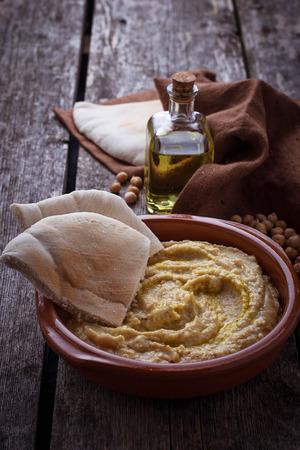 hummus: Traditional hummus and pita bread. Selective focus Stock Photo