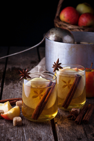 Apple cider with cinnamon. Selective focus Stock Photo