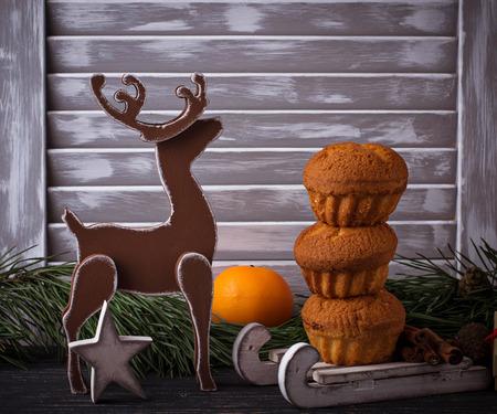 Christmas homemade cupcake in Scandinavian interior. Selective focus