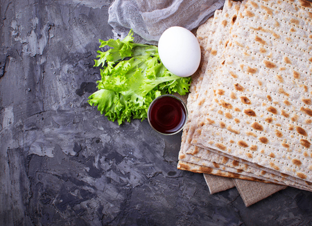 Concept of traditional Jewish celebration Passover seder. Selective focus