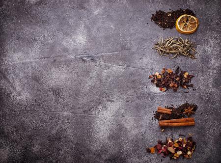 Various kinds of dry tea. Selective focus