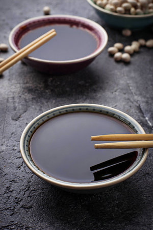 Bowls of soy sauce. Selective focus