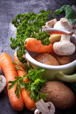 Various ingredients for cooking vegetable soup. Vegan food. Stock Photo