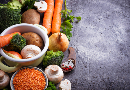 chunky: Various ingredients for cooking vegetable soup. Vegan food. Stock Photo