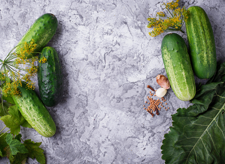 pickling: Ingredients for cooking pickled cucumbers. Top view