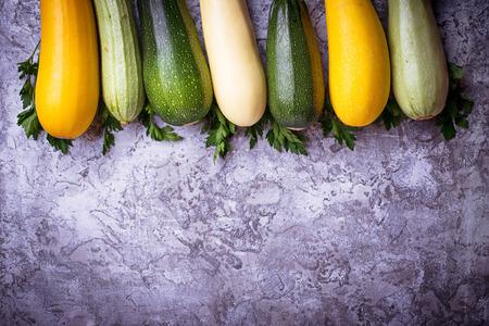Assortment of raw fresh zucchini. Top view
