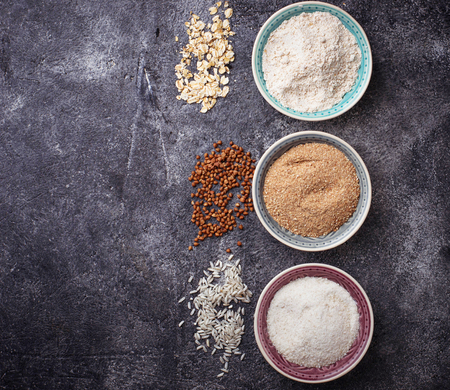 Selection of various gluten free flour (buckwheat, rice and oat) Reklamní fotografie