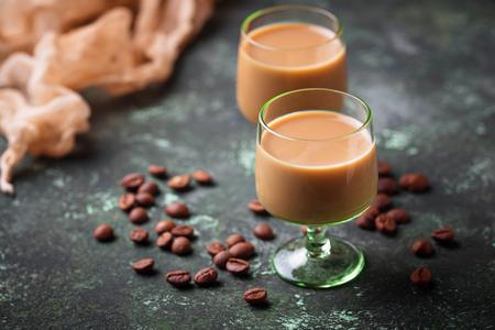 Irish cream liqueur and coffee beans