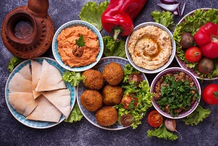 Selezione di piatti mediorientali o arabi. Archivio Fotografico - 85417464