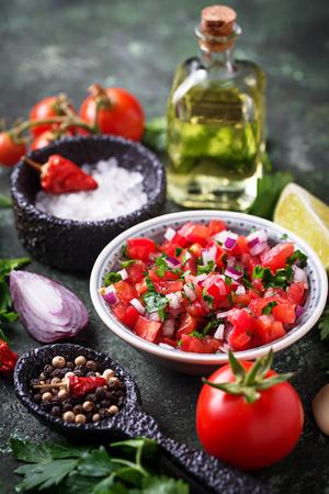 Traditional mexican tomato salsa sauce Stock Photo