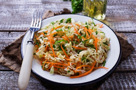 Healthy vegan salad with Chinese cabbage and carrot