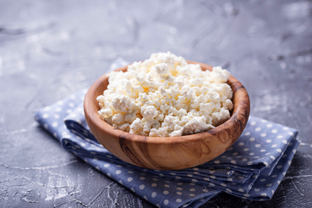 Bowl with homemade cottage cheese