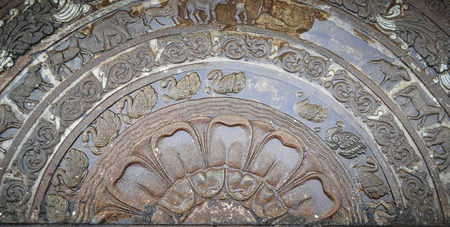 Sandakada Pahana ground carving. Moonstone relief depicting the cycle of sansara, Sri Lanka.