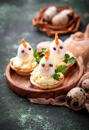 Chickens from eggs.  Easter appetizers for party Stock Photo