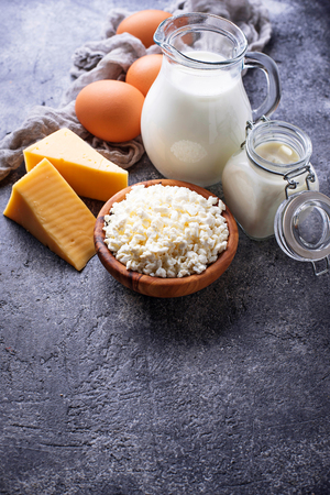 Assortment of various dairy products. Stock Photo