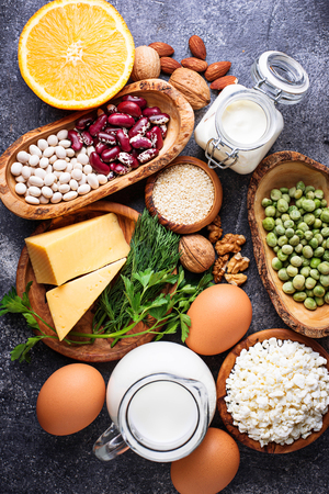Set of food that is rich in calcium. Stock Photo