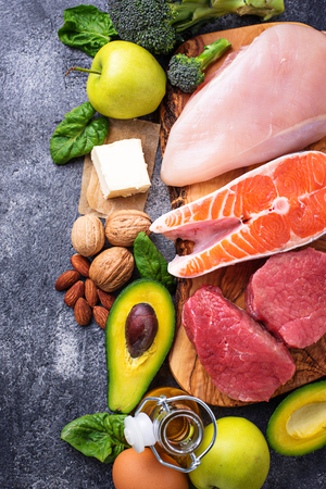 Balanced diet. Ketogenic low carbs products Stock Photo
