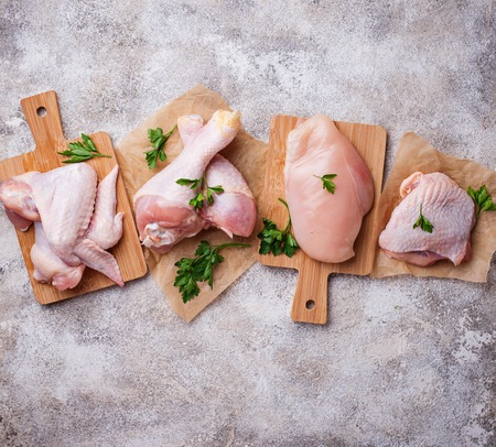Raw chicken meat fillet, thigh, wings and legs