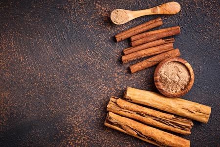 Ceylon cinnamon and cassia, sticks and powder