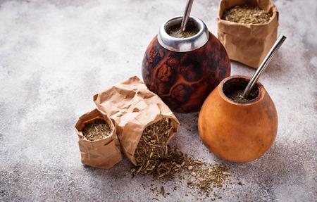 Yerba mate tea with calabash and bombilla 免版税图像