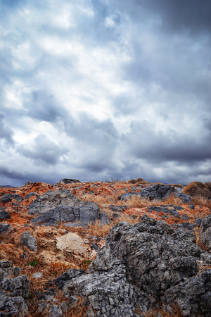 Beautiful landscape with rocks and cloudy sky