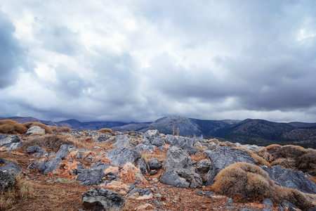 Beautiful landscape with rocks and mountain views. Mainly cloudy