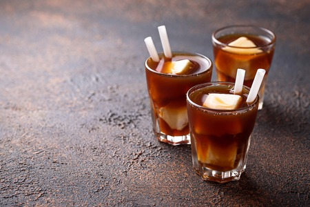 Cold drink iced coffee with frozen milk