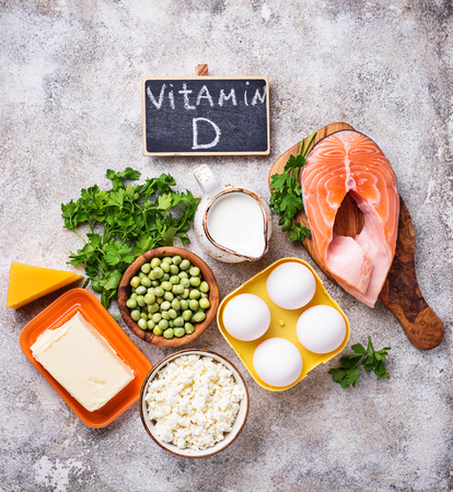 Healthy foods containing vitamin D Stock Photo