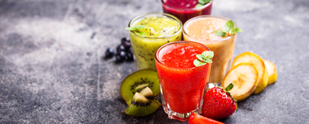 Assortment of various healthy smoothies. Selective focus, banner for design site
