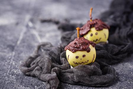 Halloween treat apple in shape of Frankenstein