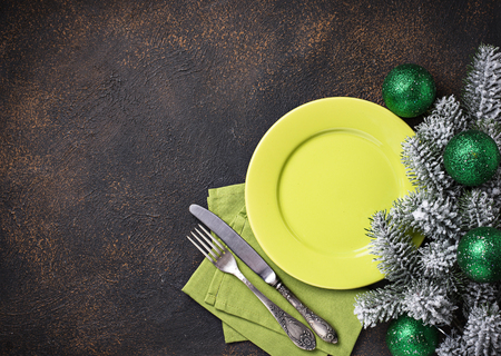 Christmas or New year festive table setting in green colors Stock Photo