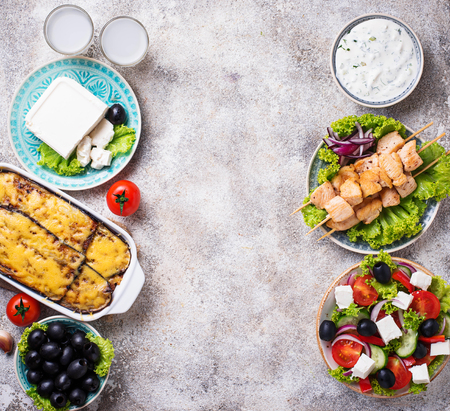 Assortment of traditional greek dishes Stock Photo