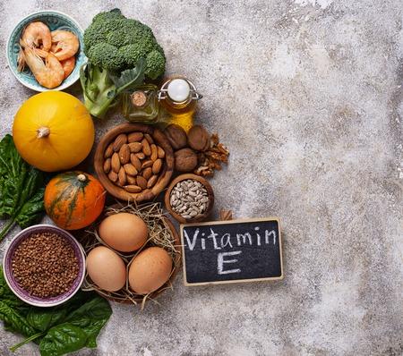 Assortment food sources of vitamin E Standard-Bild - 111419332