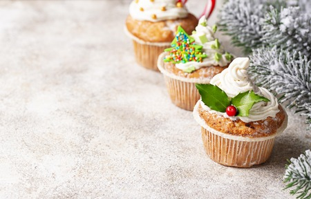 Christmas festive cupcake with different decorations Stock Photo