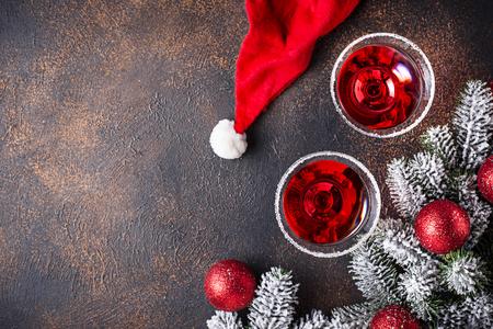 Christmas festive cocktail red martini on dark background Stock fotó