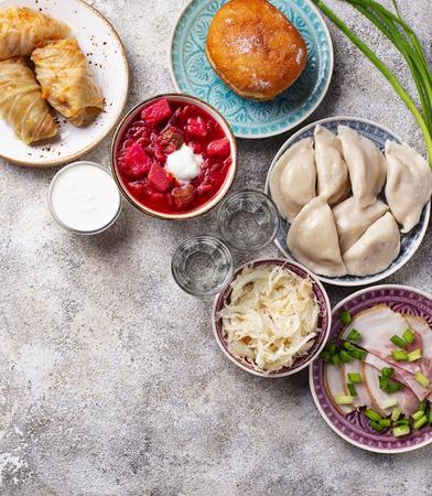 Assortment of traditional Ukrainian  food Standard-Bild