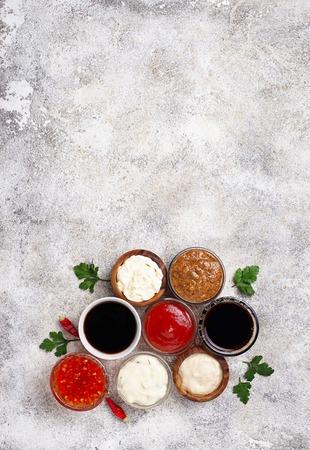 Ketchup, mayonnaise, mustard, horseradish, soy sauce and tartar