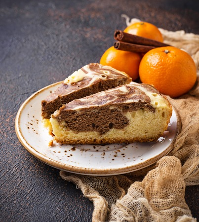 Marble cake with chocolate and orange