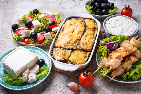 Assortment of traditional greek dishes Stockfoto