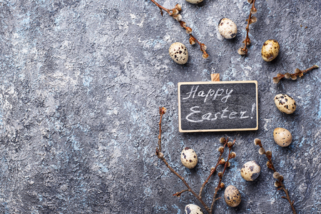 Easter festive background with quail eggs