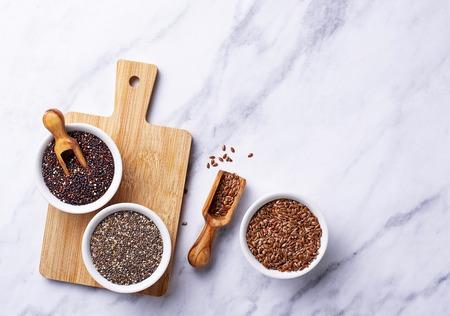 Chia, quinoa and flax seeds Stock Photo