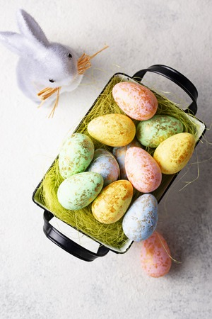 Easter background with decorative eggs